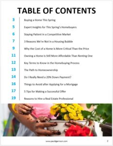 Table of contents for Buyers Guide Spring 2021